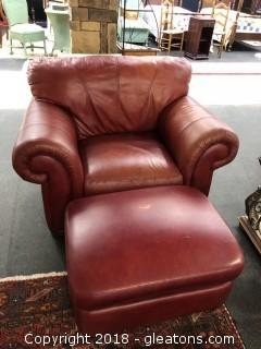 Lane Distressed Leather Chair & Ottoman