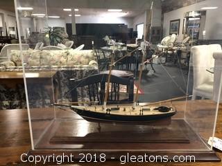 Custom Made Model Ship in Nice Display Case