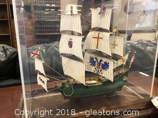 Custom Model Ship in Display Case - Excellent Detail