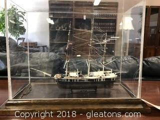 Charles W. Morgan Whaler Ship Model in Display Case