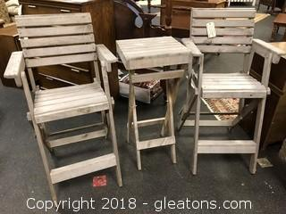 Pair of Outdoor Whitewashed Director's Chairs with Side Table
