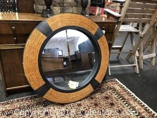 Modern Round Large Mirror with Straw Accent