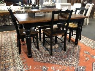 Modern Farmhouse Table & Chairs - Painted Black with Rustic Surface