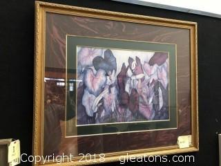 "Janice Sumler Signed ""Caladiums"" Watercolor Print"