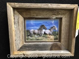 Small Rustic Wood Framed Print of Running Horses