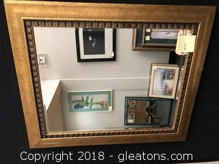 Large Framed Mirror - Modern Gold
