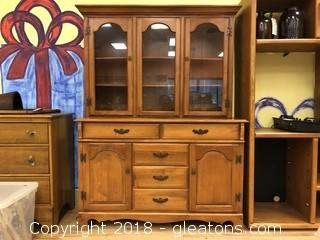 China Cabinet Two Pieces Solid Wood
