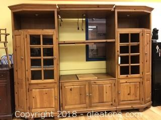 ​Entertainment center solid wood lighted