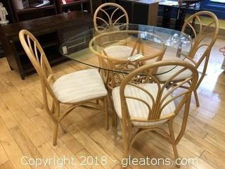Bamboo Dining Table and Four Chairs Glass