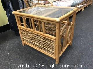 Bamboo side table glass top
