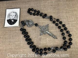 French Rosary with Obituary