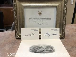 Presidential Signatures Gerald + Betty Ford and Bill Clinton