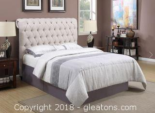Devon Collection Queen Upholstered Bed in Beige Fabric (New)