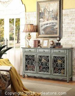 Farm House Accent Cabinet in Antique Green Finish (NEW)
