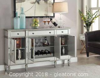 Modern Mirror Panel Wine Cabinet with Removable Wine Rack - White (New)