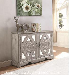 Distressed Grey Accent Cabinet with Ornate Doors (New)