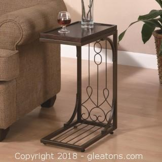 Small Brown Snack Table with Burnished Cooper Base (New)