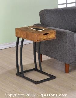 Chairside Table with Storage Drawer and Outlet (New)