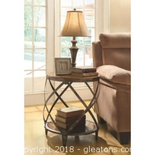 Contemporary Metal Accent Table with Drum Shape (New)