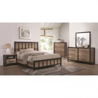 Edgewater 4 Piece Queen Industrial Panel Bed Set (NEW)