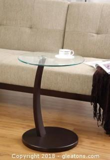 Round Accent Table with Round Glass Table Top (New)