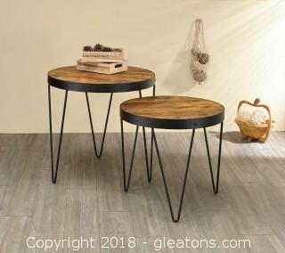 Nesting Tables 2-Piece Nesting Table Set with Hairpin Legs (New)