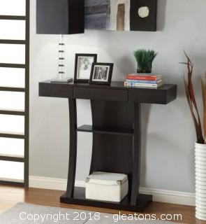 T-Shaped Console Table with 2 Shelves (New)