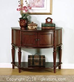 Brown Entry Table with Curved Front & Inlay Shelf (New)