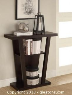 Angled Cappuccino Entry Table with Storage Space (New)