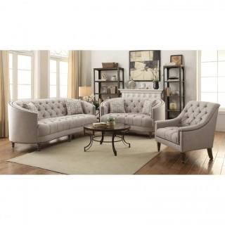 Avonlea C-Shaped Sofa with Button Tufting and Nailhead Trim (New)