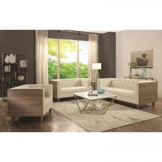 Fairbanks Tuxedo Loveseat with Button Tufting and Weathered Wood (New)