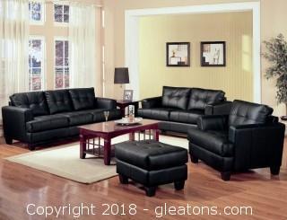 Samuel Contemporary Leather Sofa (New)