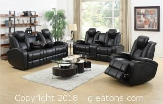 Delange Reclining Power Sofa with Adjustable Headrests & Storage in Armrests (New)