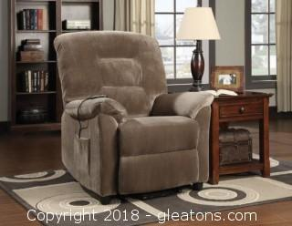 Casual Power Lift Recliner with Brown Sugar Upholstery (New)