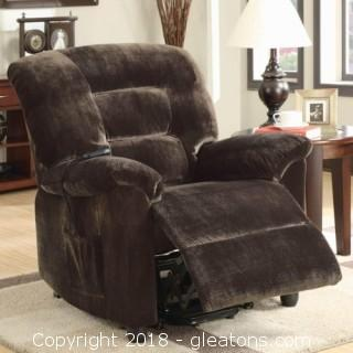 Casual Power Lift Recliner in Chocolate Upholstery (New)