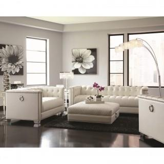 Chaviano Low Profile Pearl White Tufted Sofa (New)