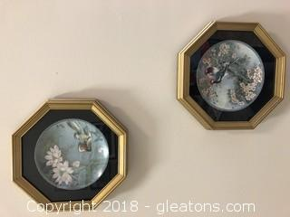 Pair of Framed Asian Plates
