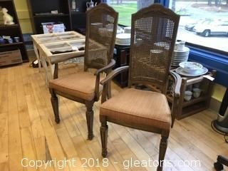 Pair Cane Back Arm Chairs