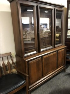 Midcentury Modern China Cabinet Two Pieces