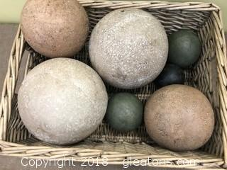 Decorative Basket of Concrete Balls