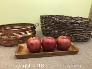 Handmade Basket Copper Basket Wooden Apples