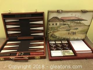 Backgammon and Old Stretch Run Games Nice Boxes