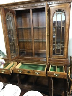 China Cabinet Lighted Break Front
