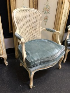 Cane Back Arm Chair  Custom Velvet Seats (A)