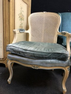 Cane Back Arm Chair  Custom Velvet Upholstery (B)