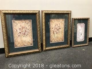 Lot of Three Framed Prints Decorative