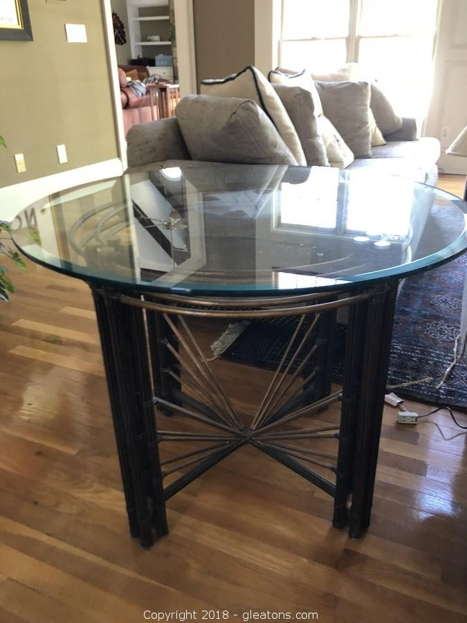 Designer Glass Top Round Side Table