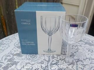 Waterford Marquis Omega 4 Wine Glasses New in Box