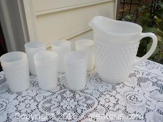 Vintage Hobnail White Pitcher with 6 Glasses