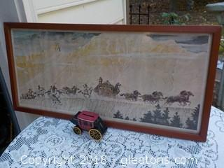 Wells Fargo Stage Coach Bank & Large Norman Rockwell Framed Art